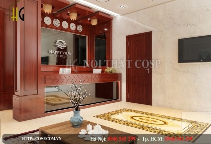 Interior design of Happy View Hotel lobby - Tan Binh District
